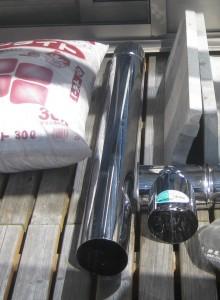室内暖房で活躍するロケットストーブの材料のステンレス煙突直筒1000mm